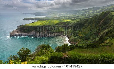 Northern Coast Of Sao Miguel, Azores Islands, Seen From Santa Iria Viewpoint.