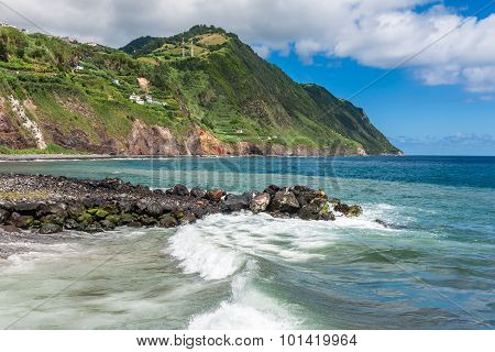 The Waterfront Of Povoacao In Sao Miguel, Azores Islands