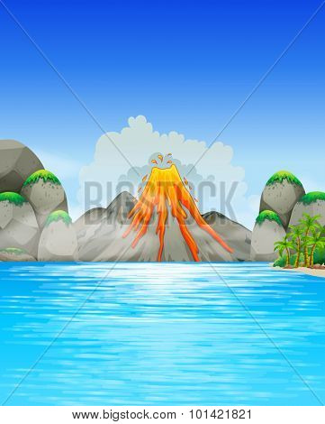 Volcano eruption by the lake illustration