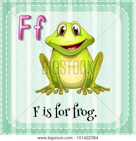 Flashcard letter F is for frog illustration