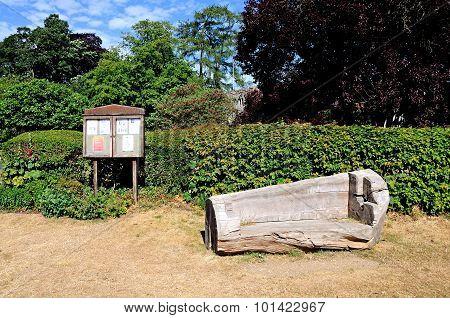 Village bench and notice borad, Turville.