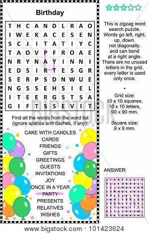 Birthday wordsearch puzzle