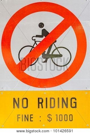 Prohibiting Signs No-bikes On The Overpass White Isolated Background.