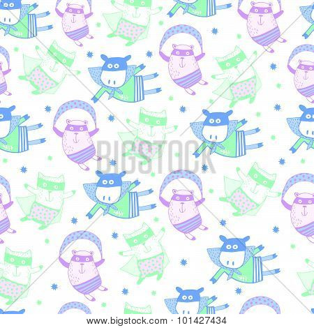 Cartoon animals in pastel colors. Cute Kids set the little hero. Seamless pattern