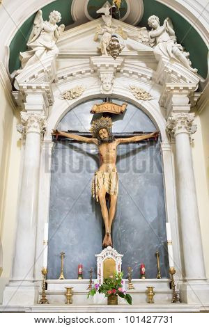Dobrota, Montenegro - September 05, 2015: Crucifixion, Jesus On The Cross, Catholic Church Saint Eus