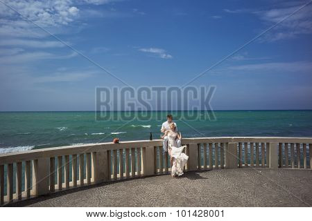 Wedding Couple On Terrace