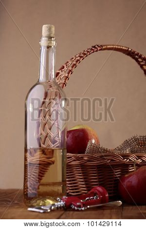 Bottle, Basket, Apples And Corkscrew