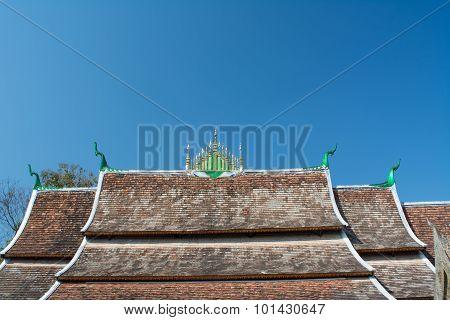 Roof Of Wat Xieng Thong Temple In Luang Pra Bang, Laos