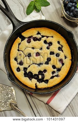 Blueberry Cobbler baked in a skillet Top View