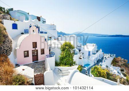 White Architecture On Santorini Island, Greece.