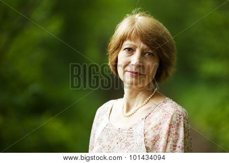 Beautiful Elderly Woman With Pearl Beads