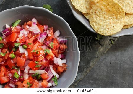 Tomato Salsa and Chips Mexican food Top view