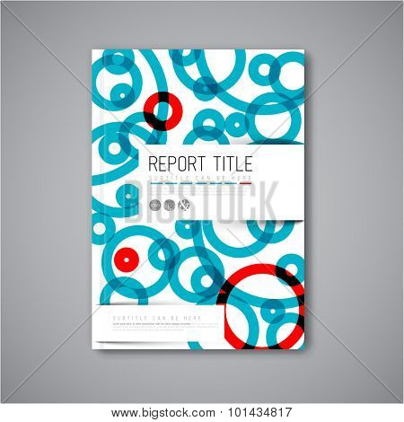 Modern Vector abstract brochure / book / flyer design template with blue and red circles