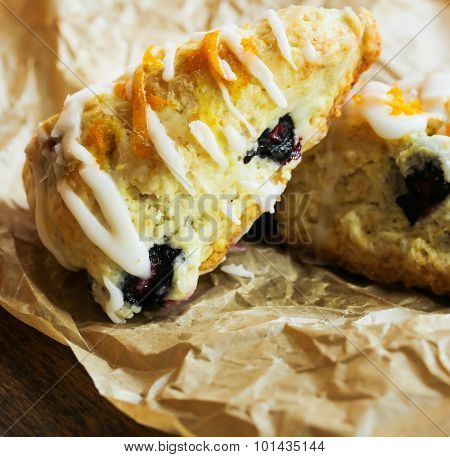 Homemade Blueberry scone biscuit with sugar glaze
