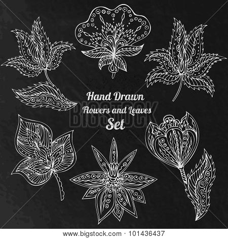White Line Art Flowers And Leaves At Black Grunge Background