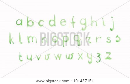 Green Watercolor Alphabet Part Three With Lower Case Letters