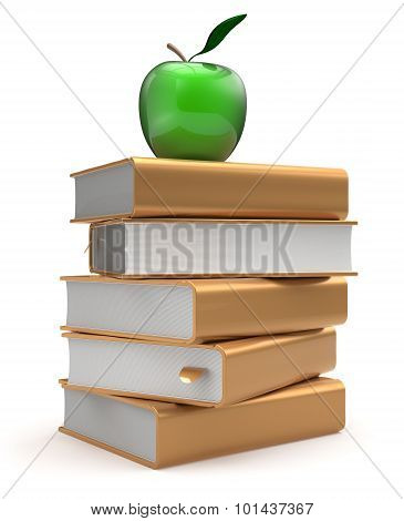 Books Textbooks Stack Literature Golden Yellow Studying Apple