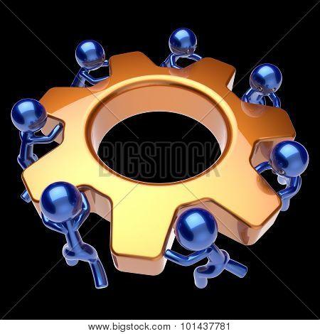 Partnership Workforce Men Characters Gear Wheel Teamwork