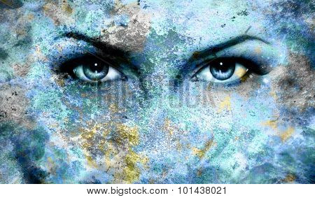 Blue goddess women eye, multicolor blue background. eye contact.