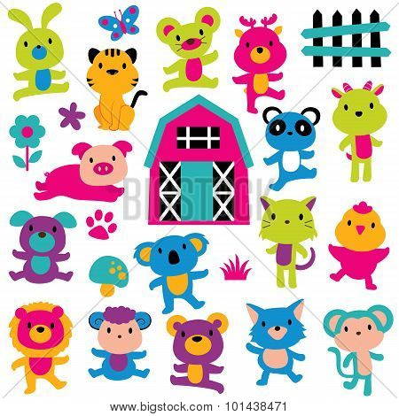 happy animals clip art set