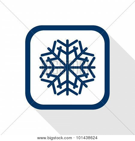Square Blue Icon Snow Flake With Long Shadow