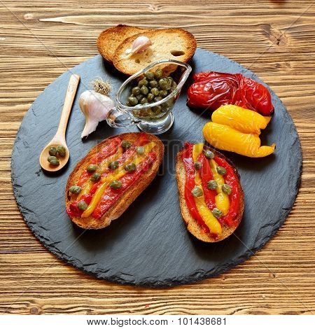 Bruschetta With Grilled Peppers And Capers