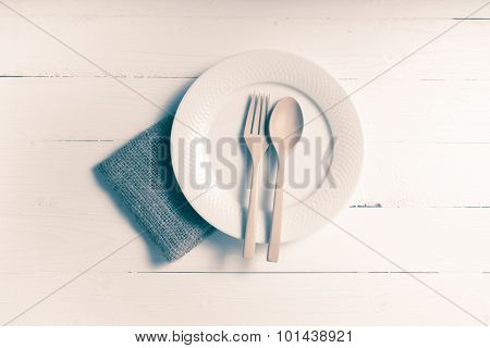 Wood Spoon And Fork With Dish Vintage Style