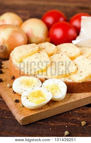 Boiled Quail Eggs And Bread With Romadur Cheese