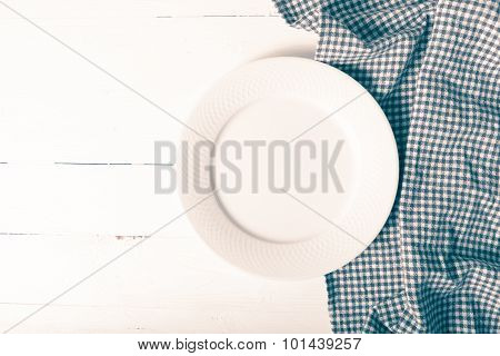 Empty Dish With Kitchen Towel Vintage Style