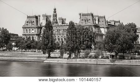Paris City Hall Across The Seine River, Right Bank, France