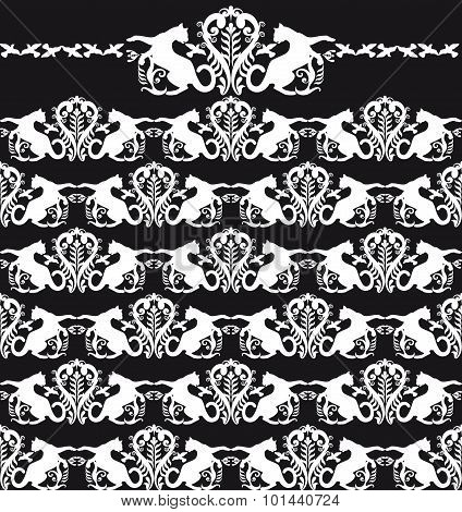 Animalistic Seamless Patten Black And White Cat
