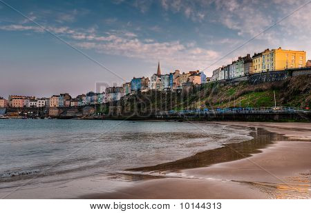 Tenby, Wales Sunset On The Beach