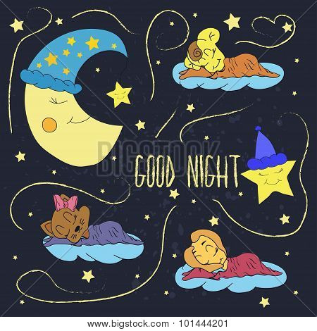 Cartoon illustration of hand drawing of a smiling moon, the stars and sleeping babies wishing good n