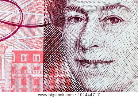Close Up Of Queen Elizabeth Ii On A Fifty Pond Note