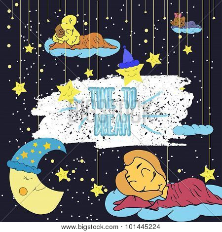 Cartoon illustration of hand drawing of a smiling moon, the stars and the sleeping child. Time to dr