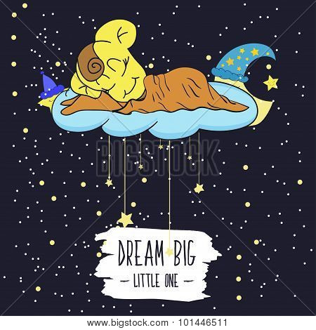 Cartoon illustration of hand drawing of a smiling moon, the stars and the sleeping child. Dream big