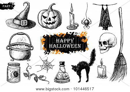 Vector Hand Drawn Halloween Set. Vintage Illustration.