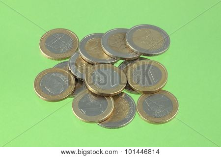 Euro Coins On A Green Chromakey Background.