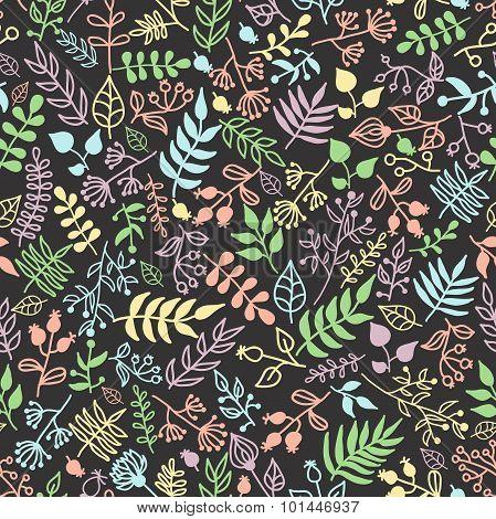 Vector Doodle Rustic Floral Pattern.