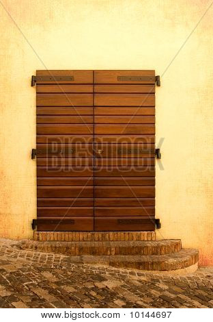 Wooden Door With Medievel Steps