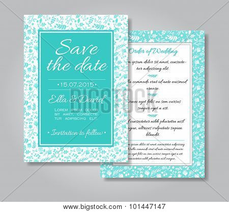 Vector Wedding Invitation Card Set With Floral Background In Tif