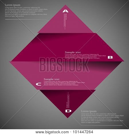 Illustration Template Of Rhombus Divided To Four Parts On Dark