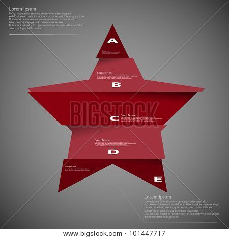 Illustration Template Of Star Divided To Five Parts On Dark