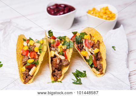 Mexican food - delicious tacos with ground beef