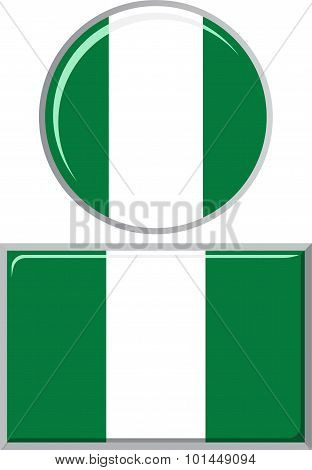 Nigerian round and square icon flag. Vector illustration.