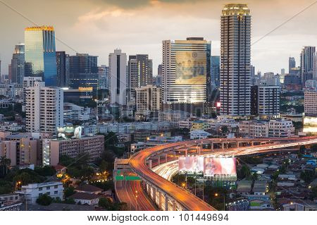 Bangkok central business area with freeway