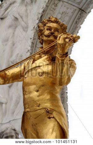 Statue Of Johann Strauss In Stadtpark In Vienna, Austria