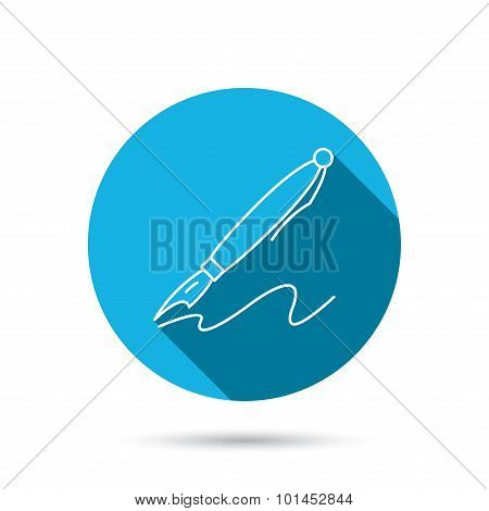 Pen icon. Writing tool sign.