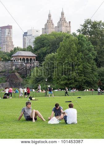 NEW YORK,USA - AUGUST 19,2015 : People enjoying their free time at Central Park in New York