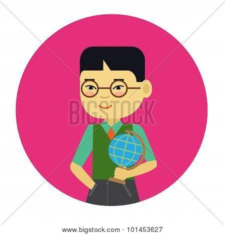 Schoolboy with globe